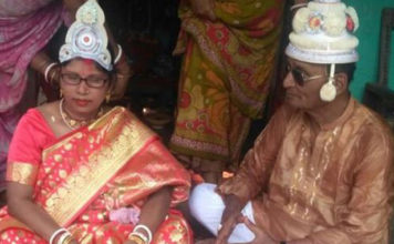 Aged couple marries second time.