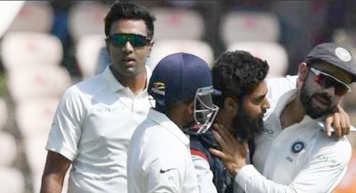 Fan Breaches Security During 2nd Test, Tries To Kiss Virat Kohli In Hyderabad Uppal Rajiv Gandhi Stadium