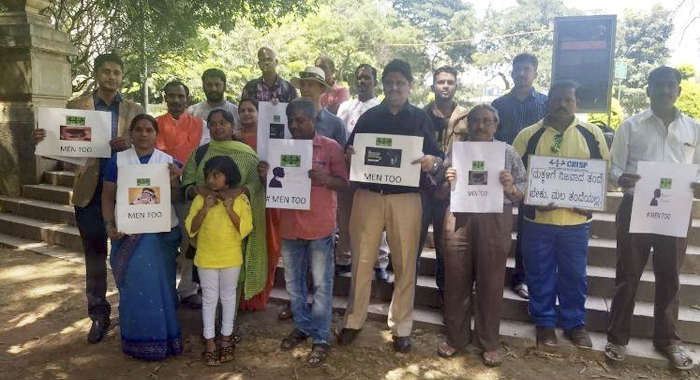 Me Too movement started in Bengaluru to protect wife victims husbands and false cases NGO CRISP (Children's' Rights Initiative for Shared Parenting), and also in attendance was Pascal Mazurier