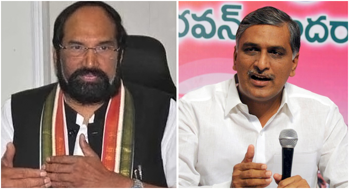 TRS leader, irrigation minister Harish Rao raised questions Uttam Kumar Reddy on TDP-Congress alliance pointing out various issues related to water bifurcation employees etc