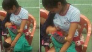 Mizoram Volleyball Player Lalventluangi Breastfeeds Baby on Field During Interval
