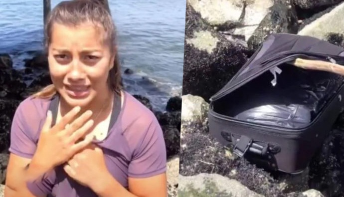 tik tok users Post Video Of Moment They Find Human Remains Inside Suitcase
