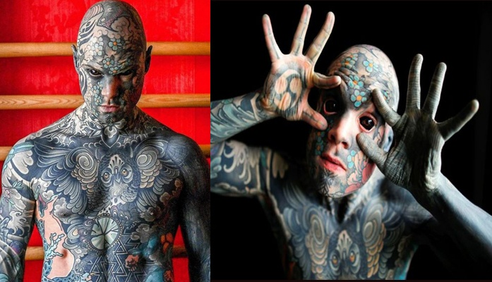 A man covered his face with tattoos and turned his eyes black. He says it cost him his kindergarten teaching job