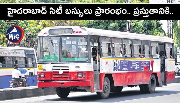 Hyderabad city buses restarts amid covid threat .